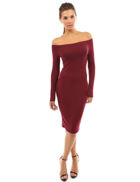 Womens clothing ladies fitted slim stretch sexy off-shoulder pencil dress Formal Prom Cocktail Evening Party Dress 5258