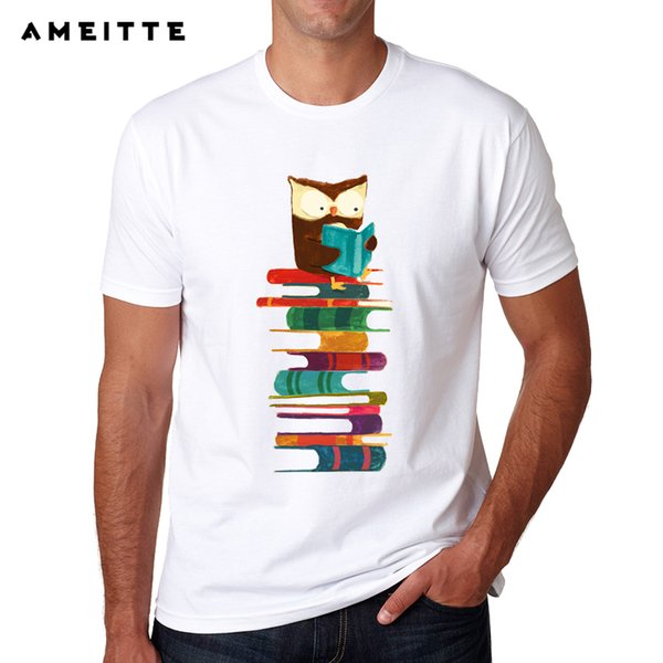 New Arrivals Rainbow Owl Reading T-shirt Summer Men's White Printing T Shirt Fashion Cool Male Funny Tops Tee Clothes