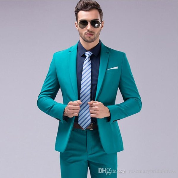 Wholesale - Hot ! 12 Colors Solid Groom Tuxedos One Button Two Pieces Groomsmen Best Man Suits Classic Men&039;s Wedding Tuxedos
