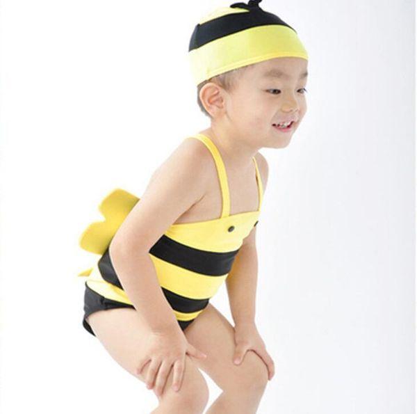 Cute Infant Baby Kids Swimsuit Cute Cartoon Bee Swimwear Children Boys Girls Baby Swimsuit Bathing Suit with Hat 13423