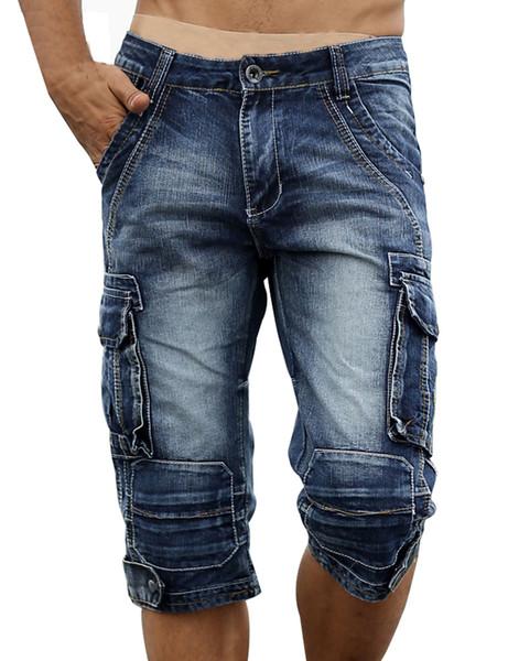 Short cargo en denim décontracté pour hommes Rétro Vintage délavé Jeans Short Slim Fit Shorty Biker pour hommes