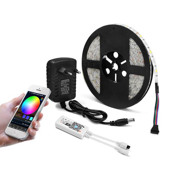 RGB RGBW RGBWW WIFI 5M 5050 LED Tira de luz a prueba de agua flexible LED Cinta de diodo Cinta de controlador WiFi + 12V Adaptador de corriente EU / US