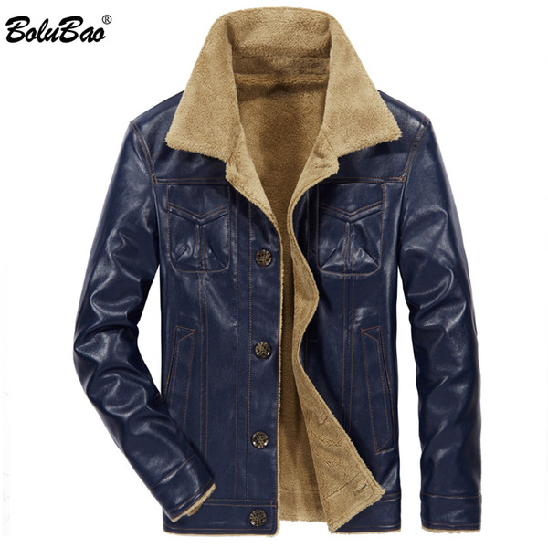 BOLUBAO Men PU Leather Jacket Winter army Pilot Jacket Thick Warm Male fur Collar tactical Mens Coat