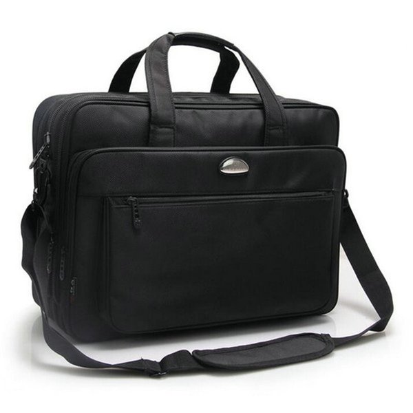 Fashion 17 inch NotComputer Laptop Handbag for Men Women Solid Black Briefcase Bags