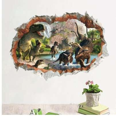 Cartoon Movie 3d Vivid Dinosaur Wall Stickers For Kids Rooms Children's Wall Decals Home Decoration Mural Poster