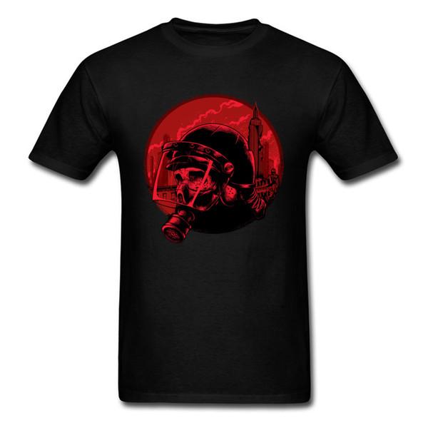 Isyan Polis Serin 2018 Erkekler Maske Kafatası Baskı T Gömlek Siyah Kırmızı Tee Gömlek Şık Tasarım Yüksek Sokak Moda Tops Boyutu L