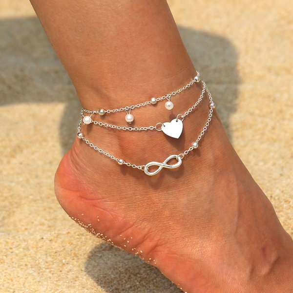 Multi Layer Pendant Anklet Foot Gold Silver Chain 2018 Summer Yoga Beach Leg Bracelet Charm Anklets Jewelry