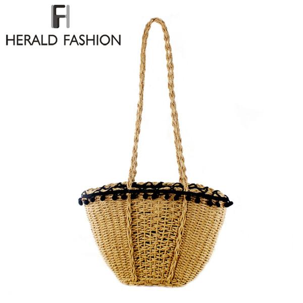 Herald Fashion New Beach Bag para mujer Bolsos de paja hechos a mano originales Summer Grass Handbags Cordón de la bolsa de viaje Bag Tote