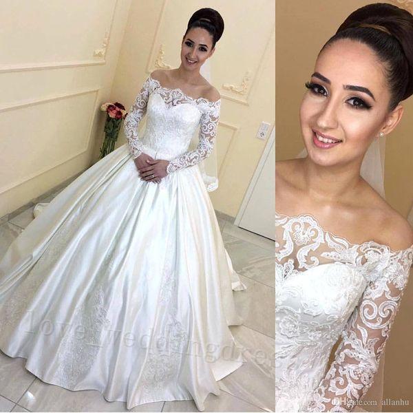 Long Sleeves 2019 Lace Brautkleider Puffy Ballkleid Dubai Brautkleider Bateau Neck Sweep Zug Silk Satin African Brautkleider