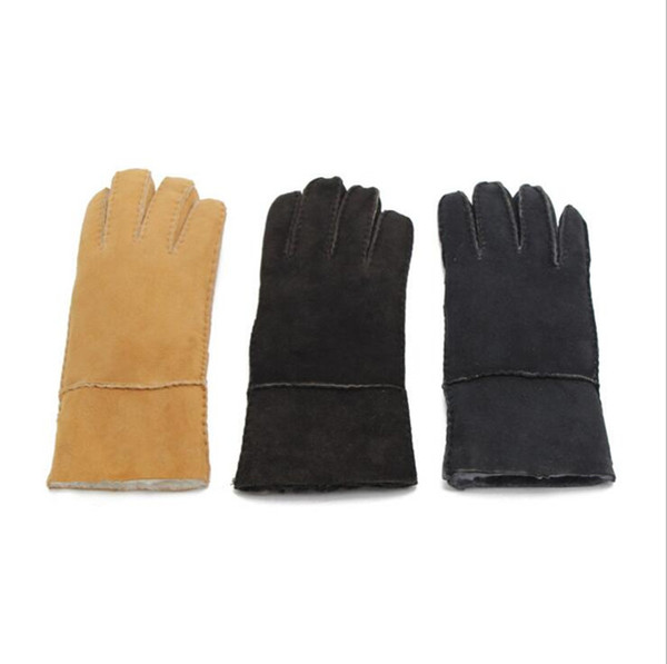 The New Woman Sheepskin Gloves Female Sheep Suede Five Fingers Gloves Fall Winter Outdoor Riding Warm And Windproof Gloves By Free Shipping