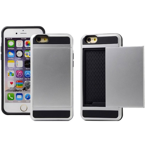 Fast shipping For iphone case muliti color options Sliding card slot mobile case shockproof hybrid tpu+pc phone case