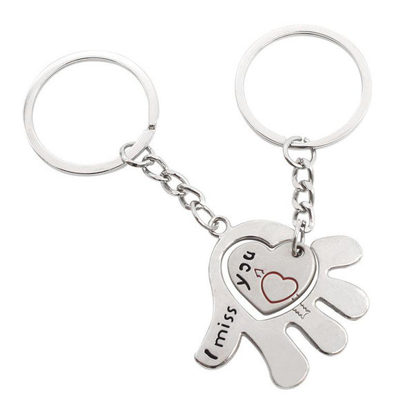 Couple I Miss YOU Keychain Ring Keyring 2pcs/set Love Heart Hand For Men Women valentine's day gift