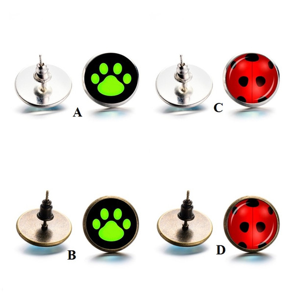 Cute Cartton Red ladybird Stud Green Dog Paw Earrings Time Gem Cabochon Style Earing Jewelry Women Girl