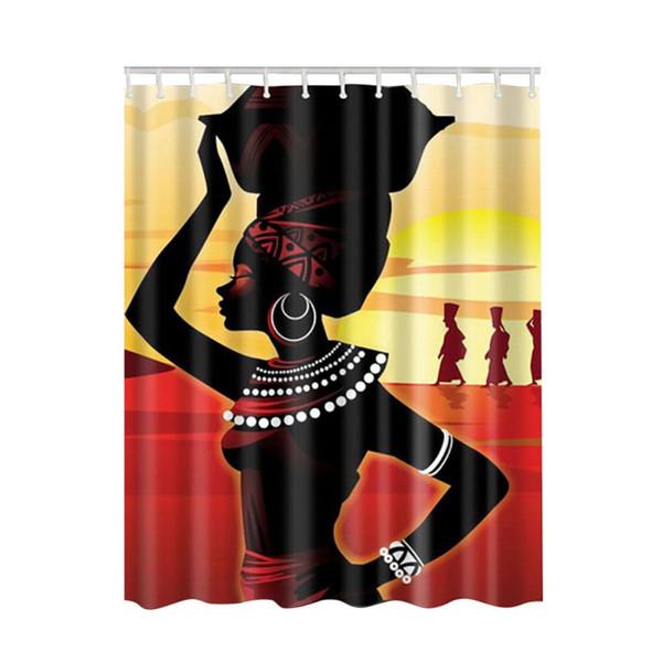 2017 hot beach shell imprimir africa mulheres patern cortina de banho do banheiro à prova d 'água cortina de chuveiro com ganchos