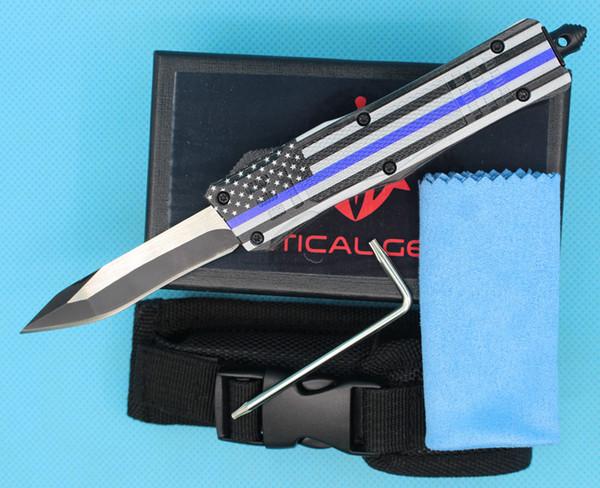 Allvin Manufacture Blue Flag 7 Inch 616 Mini Auto Tactical Knife 440C Single Edge Snake Blade EDC Pocket Knives EDC Gearz