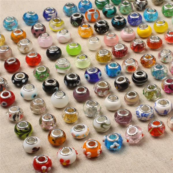50 STÜCKE Glas Lose Perlen Anhänger Charme Murano Loch Perlen Fit Für Halskette Armband Schmuck DIY Zubehör DHL Freies Weihnachtsgeschenk