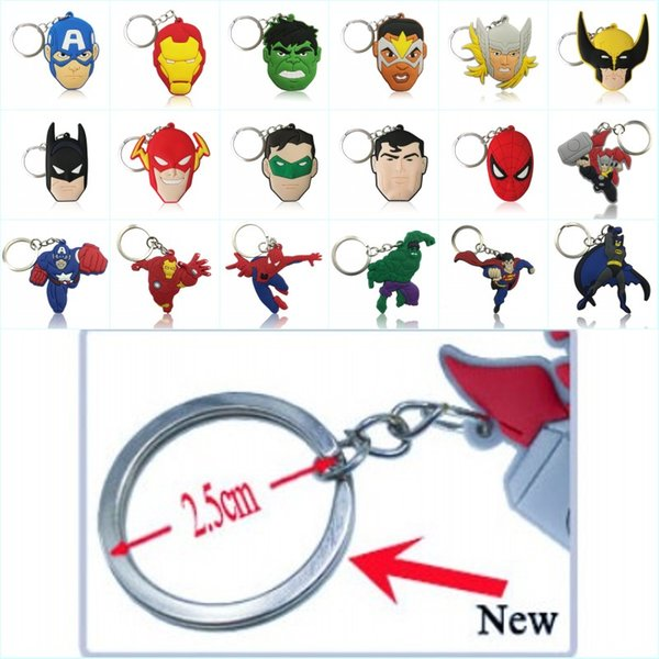 top popular Wholesale Order Cool Avenger Hero Figure High Quality Bright Color Cartoon PVC Keychain Key Ring Bag Cute Accessory Kawaii Party Favor 2019