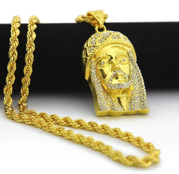 14K gold water diamonds Jesus face pendant Europe America hip hop HIPHOP necklace
