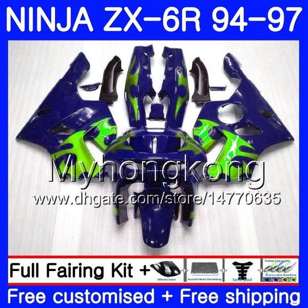Bodys Para KAWASAKI NINJA ZX 636 600CC ZX 6R 1994 1995 1996 1997 213HM.44 ZX600 Verde llamas ZX636 ZX-6R 94 97 ZX6R 94 95 96 97 Carenado
