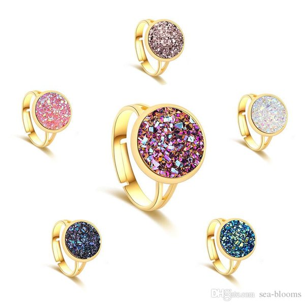 2018 Mermaid Fish Scale Drusy Druzy Adjustable Ring Fashion Silver Gold Plated Natural Stone Ring For Women Lady Party Jewelry H648R