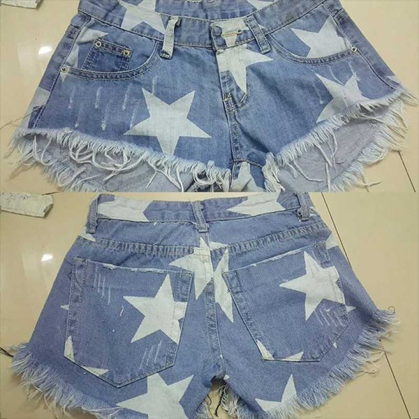 Women Shorts Jeans Printing Star Skinny Tassel Pockets Low Power Sexy Denim Jeans Summer Casual Style Fashion Blue Color New /-