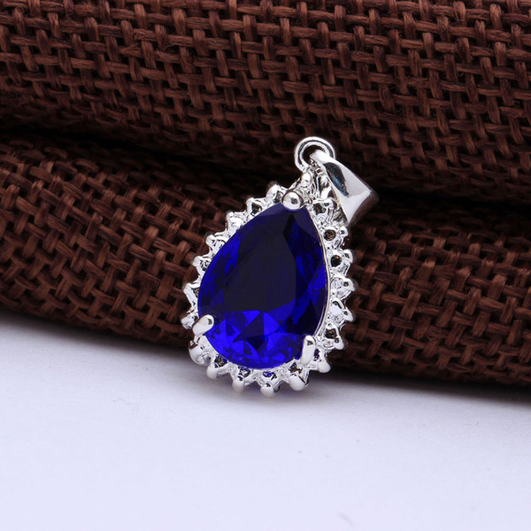 wedding fine silver plated pendant jewelry wholesale fashion dark blue sky red color supplier new luxury design pendant jewelry