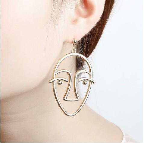 personality dangle earrings hollow human face contour creative punk abstract art metal figure exaggerated stud earrings