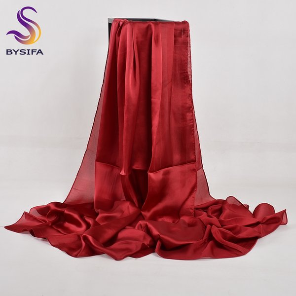 [BYSIFA] Chinese Silk Scarf Winter Women Long Satin Scarf Shawl Luxury Wine Red Scarves Simple Muslim Plain Head 180*90cm