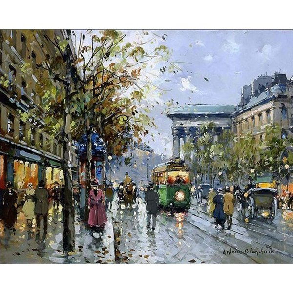 pictures by numbers on canvas Impression Street View Home decor painting by numbers with acrylic posters