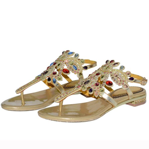2018 Newest European And American Diamond Flip Flop Flat Shoes Roman Sandals Bohemian Sandal Fashion Girl Beach Shoes Colorful Wedge Wedding Shoes