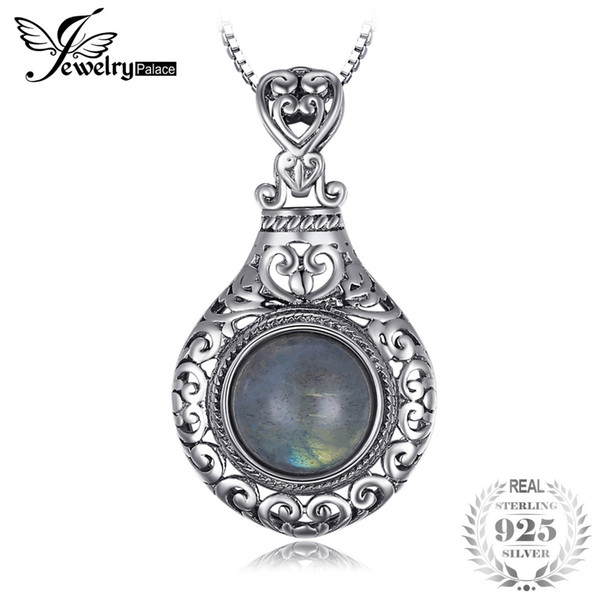 JewelryPalace New Vintage 2.6ct Genuine Labrite Carved Pendants For Women 925 Sterling Silver Fine Jewelry Not Include Chain