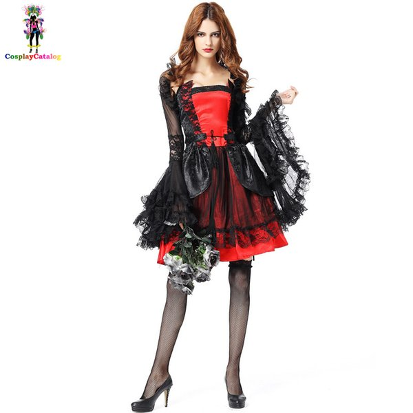 Gothic Black & Red Ghost Bride Women Dress Halloween Adult Party Fantasy Vampire Costumes Lady Carnival Costume
