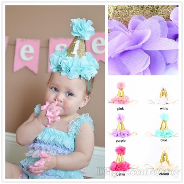 Newborn Baby chiffon Flower Crown Headbands Girls Infant petals Crown Hat Caps Baby Girls 1st Birthday Party Hats Hair Accessories KHA441