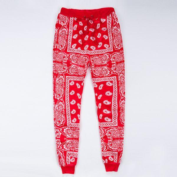 Pantalones de chándal al por mayor para hombre pantalones de chándal hombre bandana azul rojo joggers para hombre pantalones de hip hop para mujer streetwear unisex