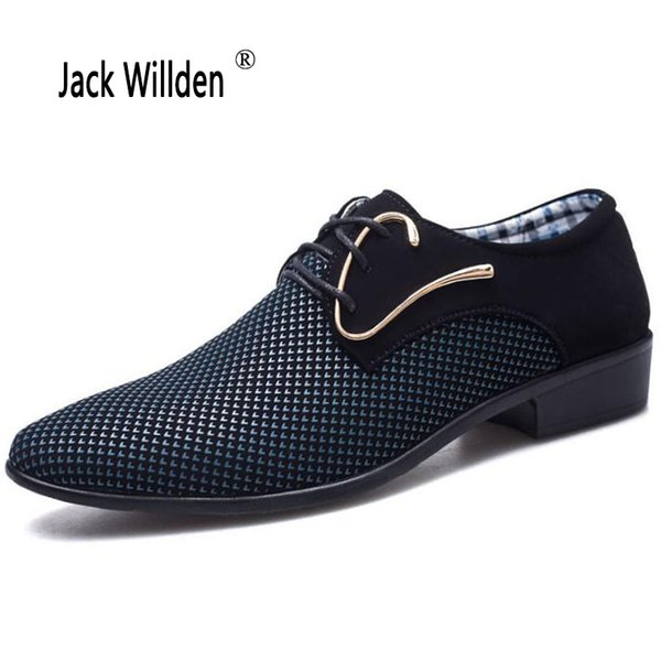 Jack Willden Plus Size 38-46 Fashion Lace-up Men's Suit Dress Shoes Office Men's Pointed Leather Shoes Male Business Flats