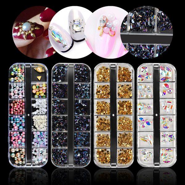 1 Set Multi-size Gradient Pearls AB Crystal Glitter Rhinestones For Nails Jewelry Gems Rivets Manicure DIY Nail Art Decoration
