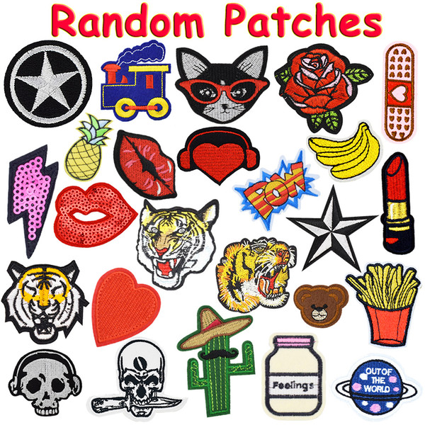 best selling 20PCS Random Patches for Clothing Iron on Transfer Applique Patch for Bags Jeans DIY Sew on All Kinds Embroidery Stickers Free Shipping