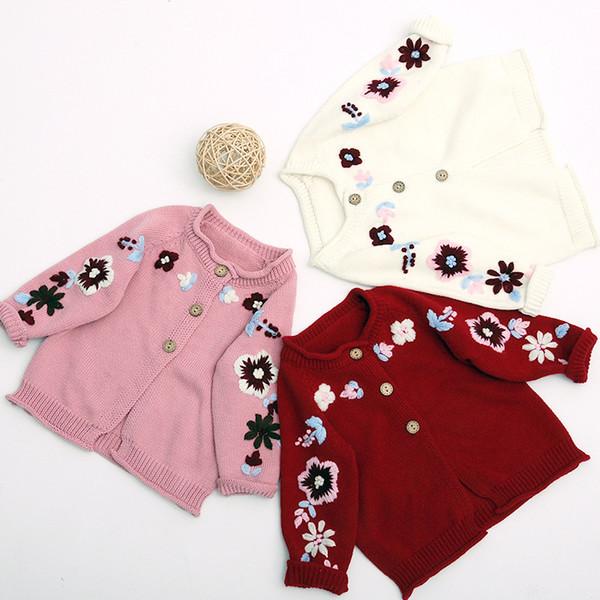Style coréen hiver bébés filles mode cardigan broderie pull infantile enfants tout-match crochet fleur pull manteaux
