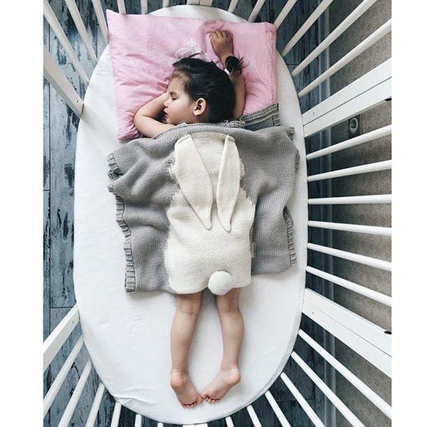 bébé dormir couverture de coton conception de l'oreille de lapin 105 x75 cm garçon fille crochet lapin