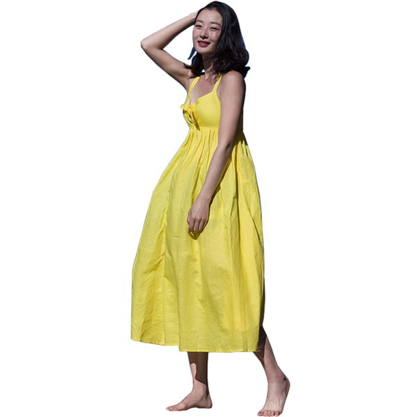 Beach vacation dress for women v neck hollow out bow cotton dresses female backless camis long maxi robe femme elastic waist
