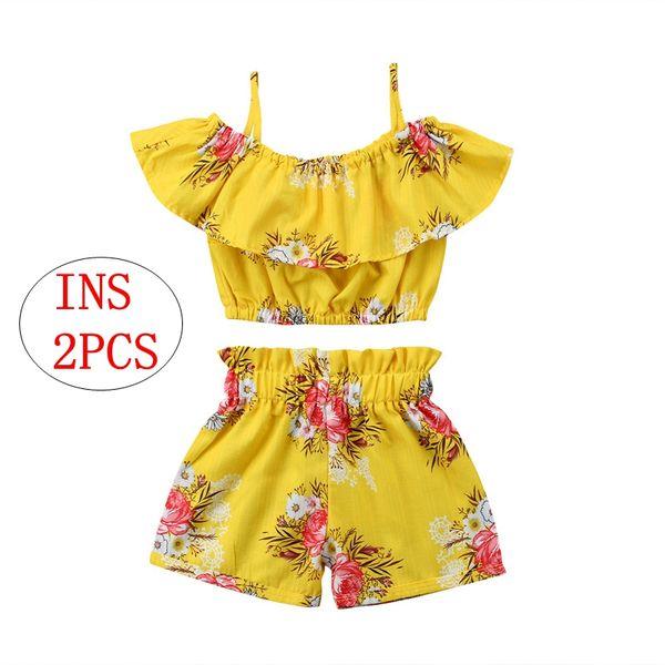 Chica Ropa de verano Niños Flores amarillas de impresión 2pcs Conjunto Niños Niñas Correa Tops Pantalones cortos Trajes 1-6T
