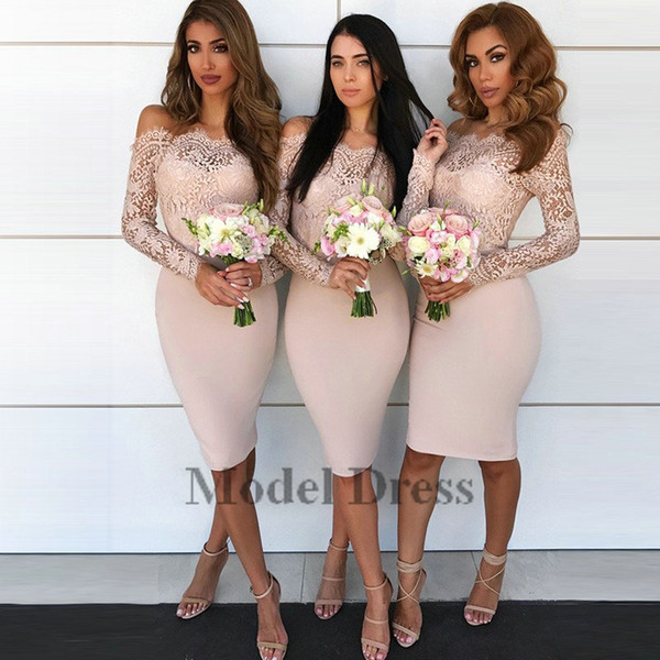 Short Bridesmaid Dresses with Lace Capped Long Sleeves Knee Length Sheer Neck Women Formal Party Dresses for Speical Occasion