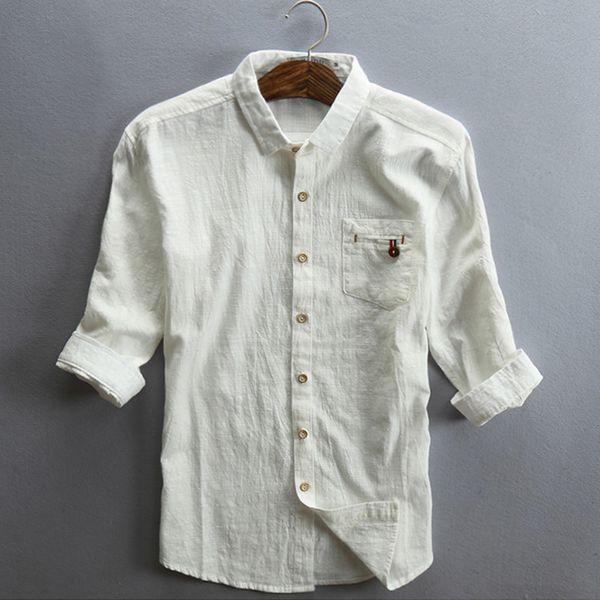 Helisopus 2017 Erkekler Keten Gömlek Yarım Kollu Pamuk Ince Gri Siyah Gömlek ile cep Artı Boyutu Erkek Rahat Bağbozumu Gömlek