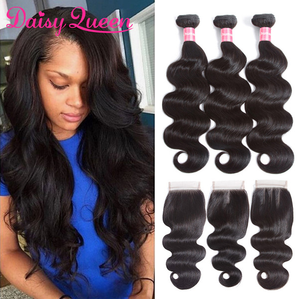 Best Quality Malaysian Body Wave Hair Weave Bundles With Closure 3 Bundles Human Hair With Lace Closure Malaysian Virgin Hair With Closure