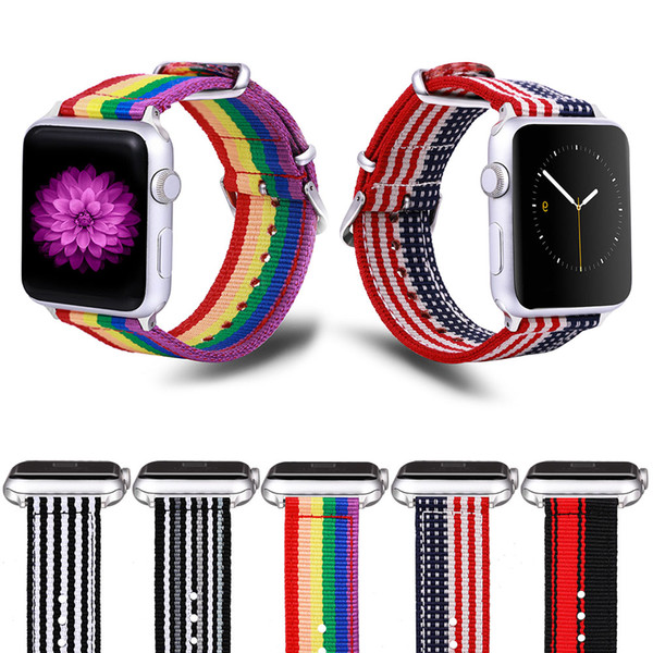 Para la banda de Apple Watch Rainbow Nylon Band Diseño Nylon Telas Correa de repuesto para iWatch3 Series 3/2/1 con hebilla clásica de acero inoxidable
