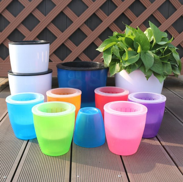 Automatic water lazy flower pot Factory direct resin large creative green locus pot water culture plastic flowerpot wholesale