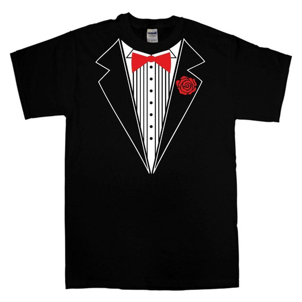 T Shirt Logo Men's Funny Tuxedo T Shirt With Different Color Bow Tie And Rose -Wedding Groom Prom O-Neck Short Design T Shirts