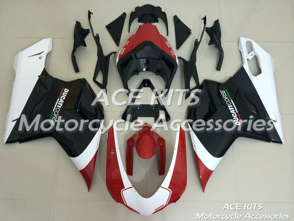 ACE Motorcycle Fairings For DUCATI 848 1098 1198 2007 2012 Compression or Injection Bodywork Black Red No.183
