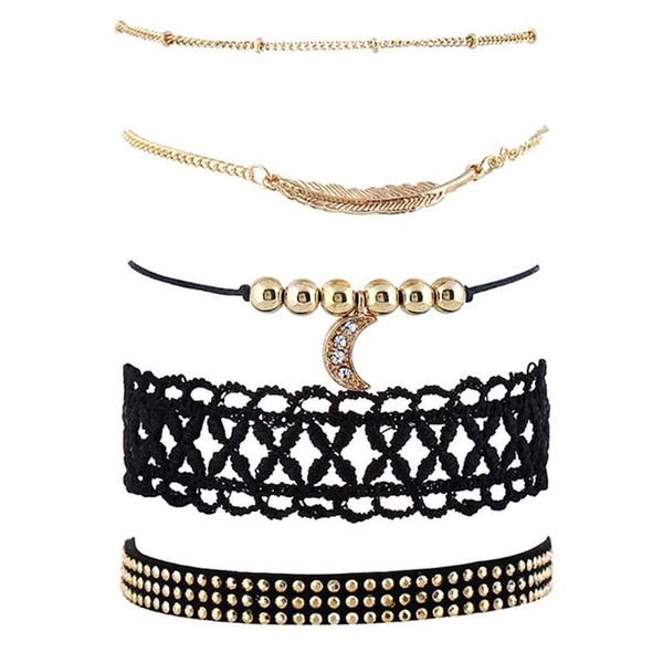 2018 Été Populaire Bracelet Ensemble Simple 5pcs / set Dentelle Creux Bracelet Personnalité Cadeau D'anniversaire De Mode Femmes Lune Pendentif Chaîne