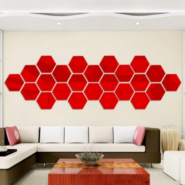 2018 Simple 3D Stereo Mirror Stickers Creative Polygon Bedroom Living Room  TV Background Wall Decoration Large Wall Decal Large Wall Decals From